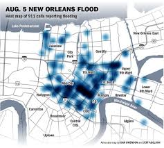 Map New Orleans by See Heat Map Of 911 Calls Placed During Aug 5 New Orleans Flood