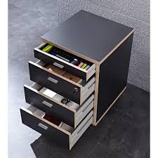 caisson bureau bois caisson de bureau à roulettes en bois avec 4 tiroirs h59cm aveiro