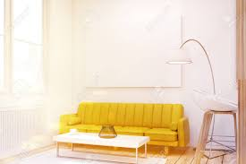 yellow livingroom up of a living room interior with a yellow sofa a bar stock