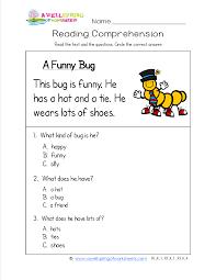 a funny bug has three simple sentences and three comprehension