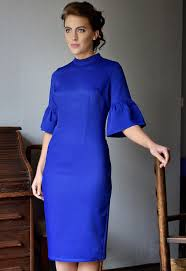 blue dress cloves and lace fluted dress in royal blue