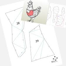 printable diy template pdf rooster low poly paper model 3d
