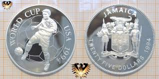 twenty five dollars 25 dollars 1994 jamaica world cup spieler fußballmünze silber