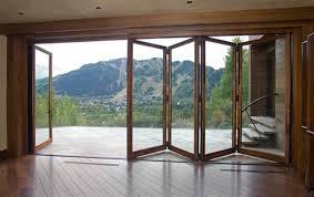 Patio Glass Doors Folding Glass Doors With Wooden Floor Screened Porches
