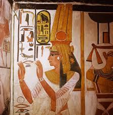 detail of mural painting of queen nefertari in her tomb in the detail of mural painting of queen nefertari in her tomb in the valley of the