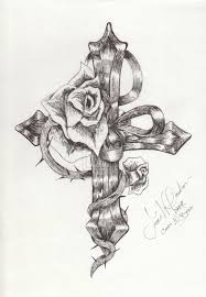 drawn cross wing rose pencil and in color drawn cross wing rose