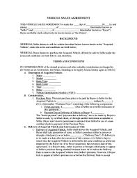 vehicle purchase and sale agreement forms and templates fillable