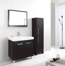 black bathroom storage cabinet demonstrated with branched