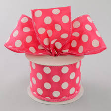 polka dot ribbon 2 5 big polka dot ribbon hot pink white 10 yards rg158811