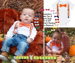 baby boy thanksgiving argyle suspenders orange bow tie
