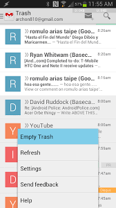 empty trash on android new gmail for android v4 5 with slide out navigation and