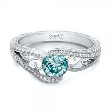 blue diamond wedding rings custom blue zircon and diamond engagement ring 100645