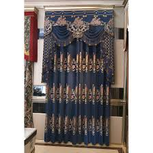 Floral Jacquard Curtains Navy Blue Floral Jacquard Chenille Luxury Thermal Valance Curtains