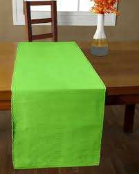 Cotton Plain Lime Green Table Runner Homescapes