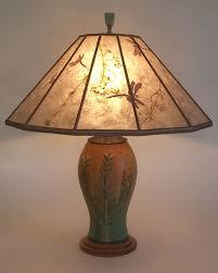 ephraim faience indian paintbrush art pottery lamp grasses and