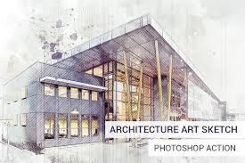architecture sketch photoshop action actions creative market