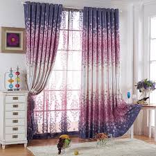 Purple Curtains Flower Patterns Energy Saving Purple Curtains
