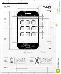 smartphone as technical drawing stock vector image 52412461