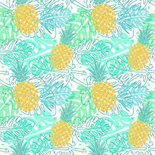 tropical wrapping paper vector seamless pattern with pineapple and palm leaves seamless