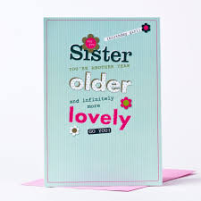 lovely birthday card wording for sister with blue and pink