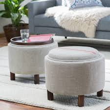 decor grey round storage ottoman with wood legs for living room