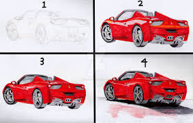 ferrari drawing ferrari 458 spider drawing stages by davidtheartninja1345 on