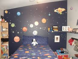 outer space themed bedroom for young boys