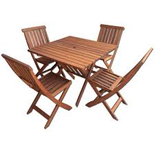 palmer 5 piece outdoor dining set with foldable chairs and table