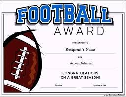 football certificate template word templatezet