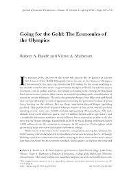 going for the gold the economics of the olympics u2020 pdf download