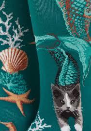 seashells cats mermaids oh my knee socks modcloth