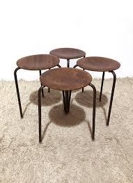 60s Style Furniture Mid Century Set Of Four Three Legged Stools 1960s Design Market