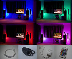 Led Light Strips For Home by Colour Changing Led Mood Light Kit With Ir Remote Control 4 X
