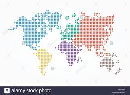 Flat World Map World Map Pixel Style And Flat Color Design Different Color