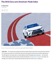 is toyota american cars com the 2016 american made index jama