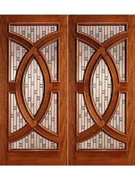Prehung French Door - mahogany double front doors with circle decorative glass by aaw