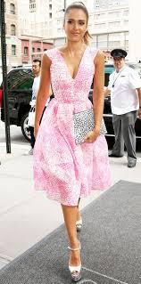 jessica alba printed pink fit and flare dress feminine dress midi