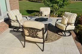 Patio Furniture Swivel Chairs Serena 4 Person Luxury Cast Aluminum Patio Furniture Chat Set W
