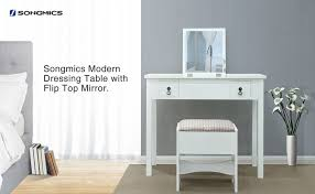white contemporary dressing table songmics modern dressing table set with flip top mirror 3 removable