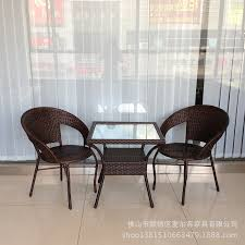 Outdoor Rattan Armchairs Furniture Rattan Chairs Coffee Table Combination Balcony Leisure