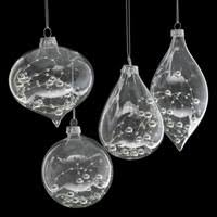hs 335 set of 3 glass tree decorations with lace