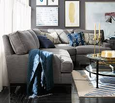 Upholstered Sectional Sofas Seabury Upholstered 3 Sectional With Wedge Living Rooms