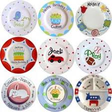 personalized ceramic plates handpainted monogrammed baby plate stripes by passtheplate 30 00