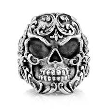 silver rings skull images Sterling silver men 39 s filigree skull ring room101 jpg