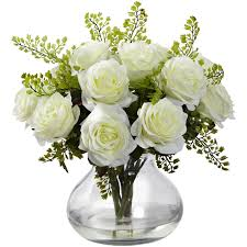 silk flower arrangements white rose maidenhair fern silk flower arrangement