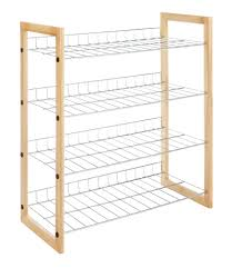 Wood Closet Shelving by Whitmor Natural Wood And Chrome 4 Tier Closet Storage Shelves