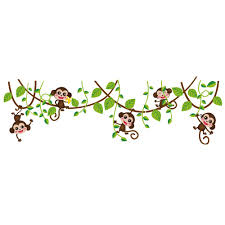 naughty monkey with green leaves tree branch wall decor sticker naughty monkey with green leaves tree branch wall decor sticker monkey playing on the tree wall art mural sticker kids nursery wall decor naugty monkey with
