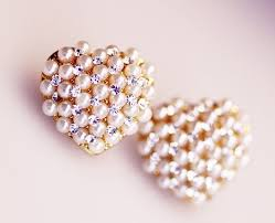 korean earings korean fashion rhinestone pearl heart stud earrings wholesale