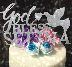 dove cake topper god bless cake topper dove baptism personalised monogram custom