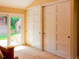 Sliding Closet Door Options Furniture White Sliding Closet Door Options With Wooden Bed On
